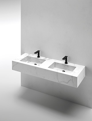 Integrated washbasin double