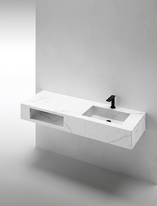 Integrated washbasin with compartment