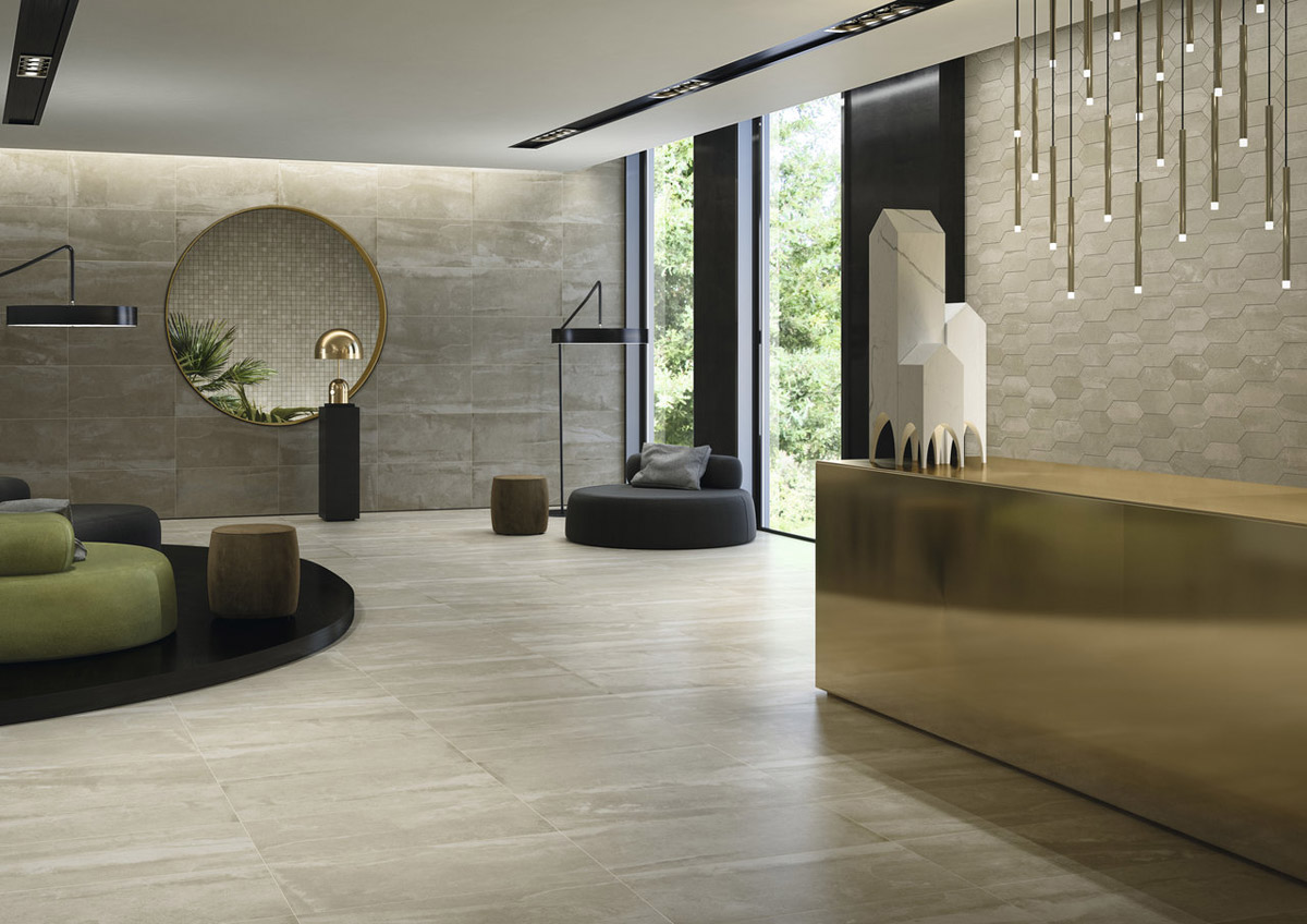 Stone effect porcelain tiles made in USA Approach by Fiandre