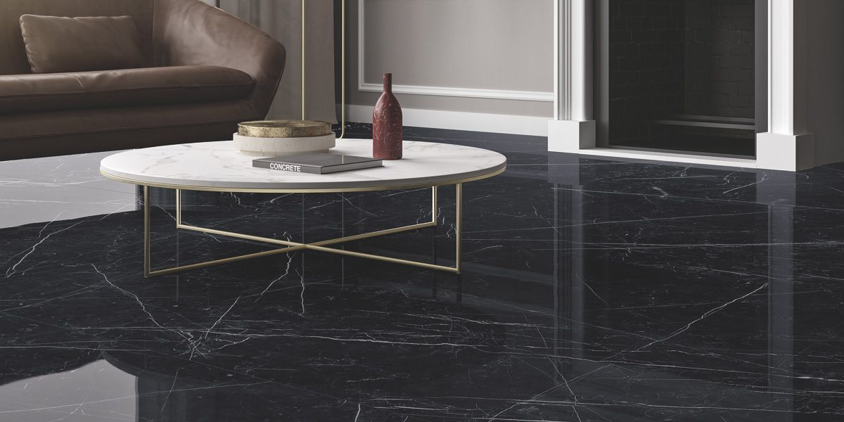 Dark Marquina Marmi Maximum Black Marble Granite Effect