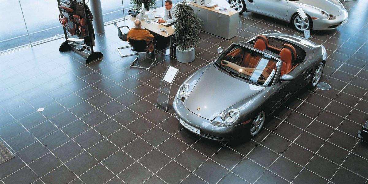 porcelain tile flooring for car dealers and car showroom. Black Bedroom Furniture Sets. Home Design Ideas
